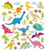 Dinosaurs Gold Foiled Stickers