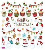 Happy Snowmen Silver Foil Stickers