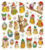 Pretty Winter Owl Gold Glitter Stickers