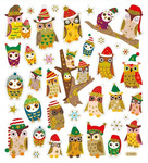 Pretty Winter Owl Gold Glitter Stickers