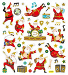 Jolly Santa Gold Glitter Stickers