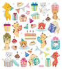 Cute Kitties Silver Glitter Accented Stickers