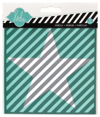 Cut Out Star Diagonal Stripe 5.5 x 5.5 Stencil - Heidi Swapp