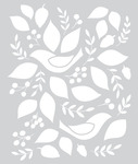 Birds & Leaves Stencil - Evergreen - Basic Grey