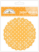 Tangerine Polka Dot Paper Doilies - Doodlebug
