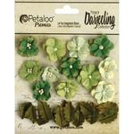 Green Petite Blooms - Darjeeling Teastained - Petaloo