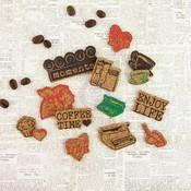 Coffee Break Cork Embellishment Stickers - Prima