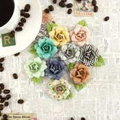 Cappuccino Paper Roses With Leaf - Coffee Break - Prima