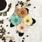 Macchiato Burlap Fabric Flowers - Coffee Break - Prima
