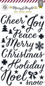 Merry & Bright Glitter Word Accent Stickers - Pink Paislee