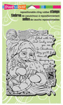 Santa Collage Christmas Cling Stamp - Stampendous