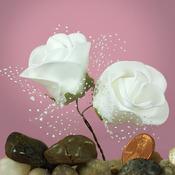 """White Foam 1.75"""" Roses w/ Tulle"""