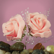 "Peach Foam 2"" Roses w/ Tulle"