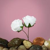 """White Foam 1"""" Roses"""