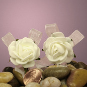 "Ivory Camellia With Bow 1.25"" Foam Roses"