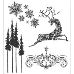 "Reindeer Flight - Tim Holtz Cling Rubber Stamp Set 7""X8.5"""