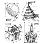Birthday Blueprint - Tim Holtz Cling Rubber Stamp Set - Stampers Anonymous
