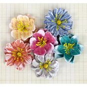 "Harbor - Labelle Paper Flowers 1.5"" To 2"" 6/Pkg"