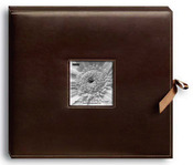 "Brown - Sewn Leatherette D-Ring Scrapbook Box 13""X14.5"""