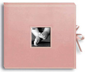 Baby Pink - Sewn Leatherette D-Ring Scrapbook Box