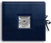 "Navy Blue - Sewn Leatherette D-Ring Scrapbook Box 13""X14.5"""