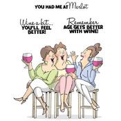 Wine Tasters Set - Art Impressions Girlfriends Cling Rubber Stamp