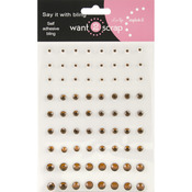 Brown - Want2Scrap Self-Adhesive Rhinestones 72/Pkg