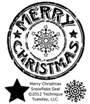 """Merry Christmas Snowflake Seal - Technique Tuesday Clear Stamps 2""""X2.5"""""""