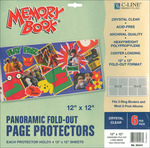 """Memory Book Panoramic Fold - Out Page Protectors 12""""X12"""" 6/Pkg-(4) 12""""X12"""" Pocke"""