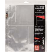 "10/pkg - 8.5""X11"" 3 Hole Refill Pages Holds 60 4""X6"" Photos"