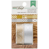"Gold & Silver - 6"" Pattern Repeat - DIY Shop Washi Tape 10yd 2/Pkg"