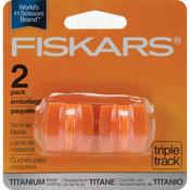 Straight, Style I - Fiskars TripleTrack High-Profile Titanium Blades 2/Pkg