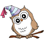 Birthday Whoot - Art Impressions Hoot! Cling Rubber Stamp