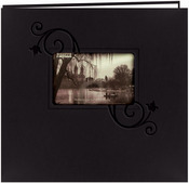 "Black W/Floral - Embossed Leatherette Post Bound Album 12""X12"""