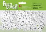 """White - Flora Doodles Jeweled Paper Florettes .625"""" To 1"""" 80/Pkg"""