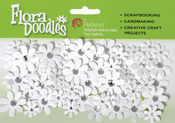 "White - Flora Doodles Jeweled Paper Florettes .625"" To 1"" 80/Pkg"