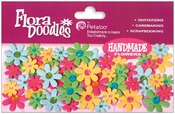 "Flora Doodles Jeweled Paper Florettes .625"" To 1"" 80/Pkg - Fuchsia, Green, Blue"