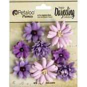 """Purple - Darjeeling Teastained Mini Mix Flowers .75"""" To 1.5"""" 8/Pkg"""
