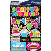 "Happy Birthday - Signature Dimensional Stickers 4.5""X6"" Sheet"