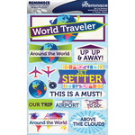 "World Traveler - Signature Dimensional Stickers 4.5""X6"" Sheet"