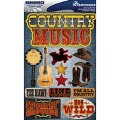 "Country Music - Signature Dimensional Stickers 4.5""X6"" Sheet"