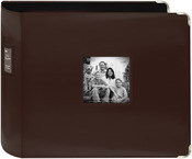 "Brown - Sewn Leatherette 3-Ring Binder 12""X12"""