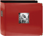"""Red - Sewn Leatherette 3-Ring Binder 12""""X12"""""""
