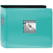 "Bright Blue - Sewn Leatherette 3-Ring Binder 12""X12"""