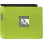 "Bright Green - Sewn Leatherette 3-Ring Binder 12""X12"""