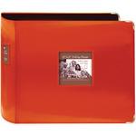 "Bright Orange - Sewn Leatherette 3-Ring Binder 12""X12"""