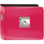 "Bright Pink - Sewn Leatherette 3-Ring Binder 12""X12"""