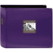 "Bright Purple - Sewn Leatherette 3-Ring Binder 12""X12"""