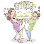 Giant Cake - Art Impressions Girlfriends Cling Rubber Stamp