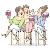 Wine Tasters - Art Impressions Girlfriends Cling Rubber Stamp